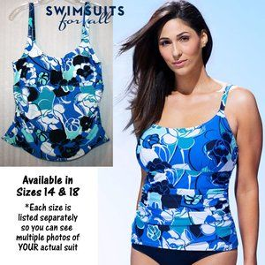 NWT in Package Camisole Style Swim Top Blue White